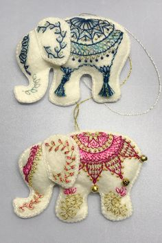 Hand Embroidered Wool Felt Elephant Ornaments Making the elephants for the gif. - Hand Embroidered Wool Felt Elephant Ornaments Making the elephants for the gift exchange reminded - Felt Fabric, Fabric Art, Fabric Crafts, Felt Crafts Patterns, Felt Crafts Diy, Wool Embroidery, Embroidery Designs, How To Make Ornaments, Ornaments Making