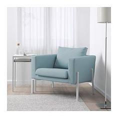 IKEA - KOARP, Lenestol, Høyelastisk polyeter gjør lenestolen myk og komfortabel å sitte i, og den får raskt tilbake formen når du reiser deg.Stabile og komfortable armlener som er perfekte å lene seg på, uansett hvordan du foretrekker å sitte i stolen.På utsiden av ryggstøtten er det ei skjult lomme hvor du kan ha ting som blader eller nettbrett.Trekket er enkelt å holde rent, det kan tas av og vaskes i maskin.10 års garanti. Les om vilkårene i garantiheftet.