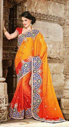 USD 156.4 Yellow and Orange Silk wedding Saree 30597