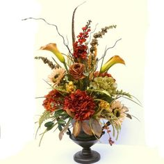 Sunflower & Hydrangea Silk Floral Design in tall Urn AR372