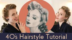 Vintage Hairstyles Tutorial, 1940s Hairstyles, Dress Hairstyles, Party Hairstyles, 1950s Hair Tutorial, Hairstyle Book, 1940s Party, 1940s Looks, 1940's Fashion