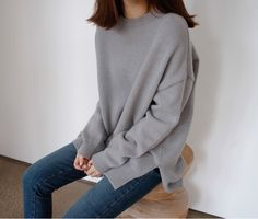 Grey Oversized Sweater and Jeans