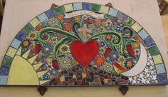 "Santa Theresa Tile Works. The ""loving heart"" mosaic."