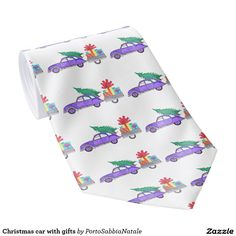 Christmas car with gifts tie