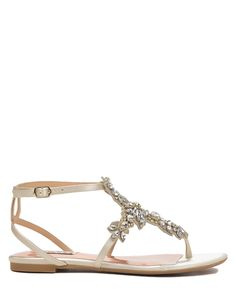 Badgley Mischka Cara Satin Embellished Sandal, now available at the official website. Free shipping, returns and exchanges.