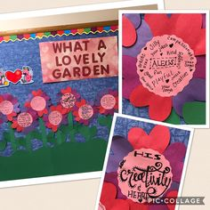 """""""what a lovely garden"""" valentine's day bulletin board.  February, love, flowers.  parents write on flowers what they love about their children."""