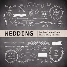 Chalkboard wedding cliparts by burlapandlace on Creative Market