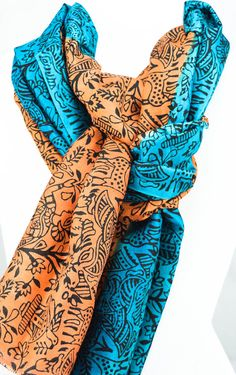 Silk Scarf - Hand painted silk scarf- Teal - Black prints- TerraCotta - Gift for Her- Gift for women - Birthday gift - Gift for mom by Ornify on Etsy Birthday Gifts For Women, Gifts For Mom, Painted Silk, Hand Painted, Black Print, Terracotta, Wrap Dress, Scarves, Teal