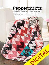Peppermintz Digital Pattern from ShopFonsandPorter.com. A modern take on half square triangles.