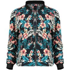 Yoins Bomber Jacket ($27) ❤ liked on Polyvore featuring outerwear, jackets, yoins, tops, coats & jackets, blue, blue bomber jacket, flower print jacket, floral print bomber jacket and vintage flight jacket