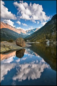 Mills Lake, Rocky Mountain National Park, Colorado water mirror reflection, clouds, sky, mountains