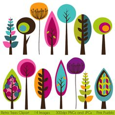 Retro Trees Clipart Clip Art, Mod Vintage Trees Clipart Clip Art - Commercial and Personal Use