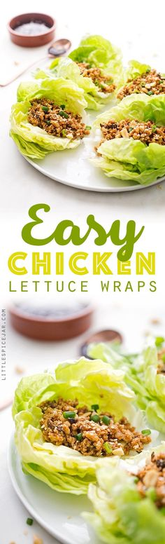 Easy Chicken Lettuce Wraps - Only 100 simple calories in this flavor loaded chicken lettuce wraps that are full of protein and perfect for light and healthy lunches and dinners! #chickenlettucewraps #asianchickenlettucewraps #lettucewraps | Littlespicejar.com