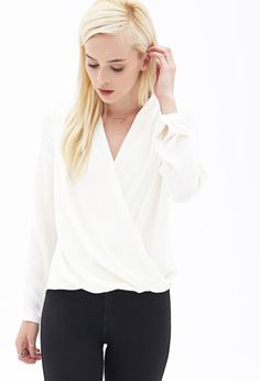 Shop White Long Sleeve Cross Front Blouse online. Sheinside offers White Long Sleeve Cross Front Blouse & more to fit your fashionable needs. Free Shipping Worldwide!