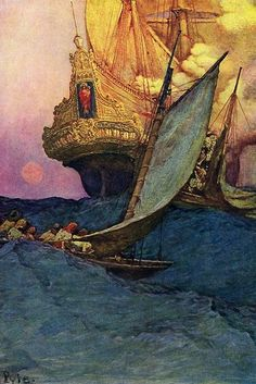 A golden age illustration by Howard Pyle.