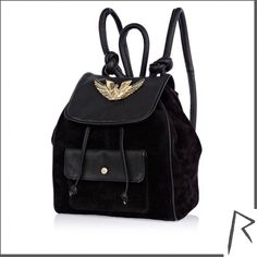 River Island Black leather Rihanna tattoo pendant backpack ($91) ❤ liked on Polyvore