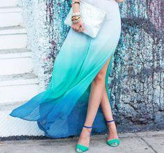 Faldra Ombre en tonos azul.