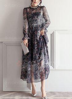 Dress - $61.99 - Floral Long Sleeve Maxi A-line Dress (1955257690)