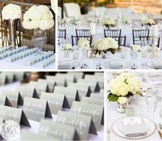 white, gray wedding palette.  modern-classic.  gray escort cards, white wedding florals, white wedding place setting and wedding tablescape