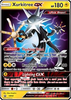Ability: Flashing Heal Prevent all damage done to this Pokemon by attacks from your opponent's Pokemon that have any Special Energy attached to them. [L][L][C] Rumbling Wires: 100 damage. Discard the top card of your opponent's deck. [L] Lighting GX: Your opponent reveals their hand. Add a card you find there to their Prize cards face down. (You can't use more than 1 GX attack in a game.)