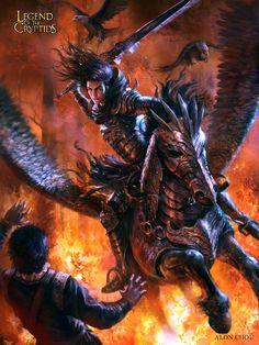 Artist: Alon Chou - Title: Unknown - Card: Amadeo, Flying Death God (Doom)