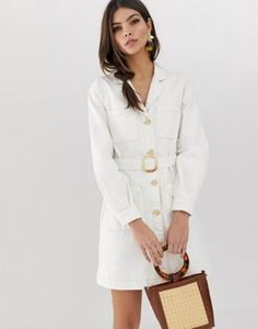 ASOS DESIGN - Robe chemise fonctionnelle en jean - Blanc