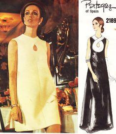 Vintage sewing patterns, Vogue Couturier Design, Pertegaz of Spain, pattern #2189 Women's/Misses', size 10, bust 32.5, hip 34.5. One-piece dress. H