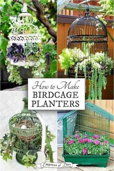 Tips for Making a Birdcage Planter Birdcage planters are a favorite with creative gardeners. These tips share ideas for setting up a new or upcycled birdcage as a planter for succulents or annuals. Flower Planters, Garden Planters, Succulents Garden, Garden Art, Hanging Flower Pots, Fall Planters, Garden Table, Garden Beds, Birdcage Planter