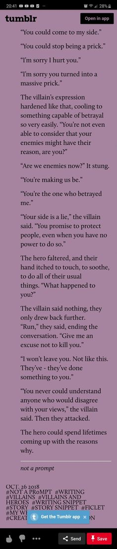 Villain x Hero prompt - villain and hero used to be on the same side but one turned Daily Writing Prompts, Story Prompts, Writing A Book, Writing Ideas, Fantasy Tips, Fantasy Art, Character Prompts, Writer Tips, Drawing Prompt