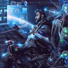 The Pilot + Video by Nikulina-Helena on DeviantArt Arte Sci Fi, Sci Fi Art, Character Concept, Character Art, Concept Art, Cyberpunk 2077, Sci Fi Fantasy, Dark Fantasy, Sabre Laser