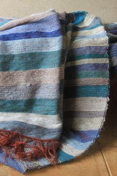 Blue striped mohair blankets