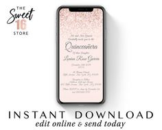 Rose Gold Quinceanera Elegant Text Invitation, Blush Pink Glitter Quince SMS Message Invitation e vi Text Message Invitations, Sweet Text Messages, Guy Best Friend, Sweet Texts, Sms Message, Cute Couple Quotes, Just Girly Things, Reasons To Smile, Sweet Sixteen
