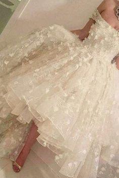 Romantic Off The Shoulder Wedding Dresses 2018 3D Floral Appliques Hi-Lo Prom Dresses BA5588