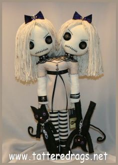 Siamese twin rag doll with black cats... creepy gothic folk art by Jodi Cain Tattered Rags