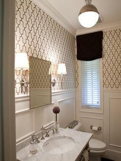 combo of the lighting, ideas for powder room and hall bath; Traditional Powder Room Design, Pictures, Remodel, Decor and Ideas Small Bathroom Inspiration, Bad Inspiration, Small Bathroom Wallpaper, Wainscoting Bathroom, Wainscoting Ideas, Wainscoting Stairs, Downstairs Bathroom, Wainscoting Height, Painted Wainscoting