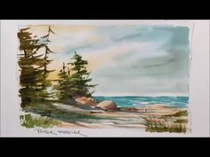 A quick and fun Watercolor demonstration of a Lake Shoreline painting. Easy to follow and learn. - YouTube