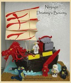 Lego Ninjago 'Destiny's Bounty' Cake - Cake by Mel_SugarandSpiceCakes Bolo Ninjago, Lego Ninjago Cake, Ninjago Party, Lego Birthday Party, Lego Cake, Cake Birthday, Birthday Ideas, Birthday Parties, Dragon Birthday Cakes