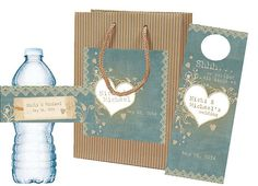 Wedding Welcome Bag Set with custom matching Welcome Bag, Water Bottle Label, Door Hanger, Itinerary for hospitality bag, out of towner bag