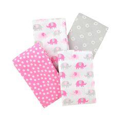 Carter's 4 Pack Flannel Receiving Blanket - Pink Elephant Print