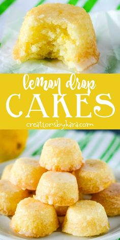 From Scratch Mini Lemon Drop Cakes - these bite sized lemon treats are covered with a delicious lemon glaze, and they practically melt in your mouth! #lemondropcakes #minilemoncakes #minicakes #lemonglaze #minilemondropcakes #creationsbykara