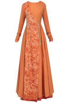 Natasha J presents Orange embroidered mesh print angrakha anarkali available only at Pernia's Pop Up Shop. Batik Fashion, Abaya Fashion, Muslim Fashion, Indian Fashion Dresses, Indian Designer Outfits, Designer Dresses, Stylish Dress Designs, Stylish Dresses, Simple Dresses
