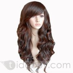 New Arrival High Quality Natural Long Wavy Brown about 19 Inches Synthetic Wig