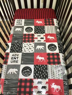 Made to order Blanket only..***full bedding set is found here..https://www.etsy.com/listing/543034028/woodland-crib-bedding-set-adventure?ref=shop_home_active_1 Woodland nursery minky blanket with moose, bears, trees, plaid, and adventure screen printed on it. Have a woodland baby