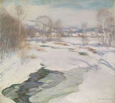 """""""Icebound Brook,"""" Willard Leroy Metcalf, 1922, oil on canvas, 26-1/2 x 29"""", private collection."""