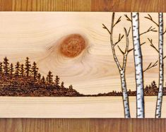 Birch Trees, Woodland Nature, Original Woodburning, Pyrography, Forest, Lakeside, Sunset, Moon, Gift Idea, Housewarming