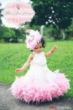 Classic Fluffy Feather Rosette Dress | MelissaJane Boutique | Quality Children's Dresses