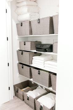 Our Home: Laundry Room - Kailee Wright Laundry Room Inspiration, Organizing Linens, Closet Inspiration, Home, Closet Organization, Linen Closet Storage, Linen Closet Organization, Closet Organisation, Cupboards Organization