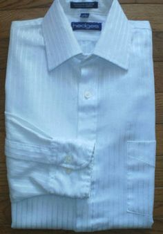 MENS 14½ 32/33 HEDGES STRIPED DRESS SHIRT button-up FORMAL white on white NICE!