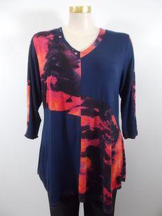 942fa0f6f89 Parsley and Sage - Fuchsia Orange Purple 3 4 Sleeve V-Neck Savanna Tunic
