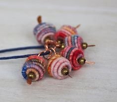 Copper Wire Wrapped Bead Drop Dangle. Fabric by jimenastreasures, $13.10